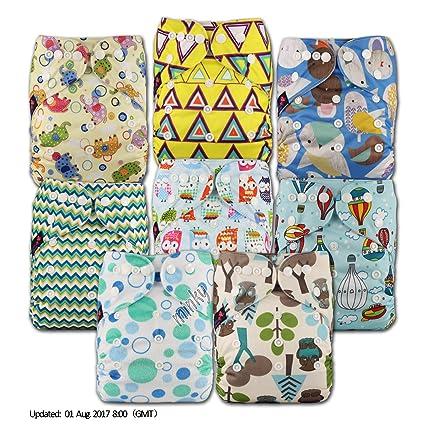LittleBloom Bebé Pañales Lavables Pañal Reutilizable Insertos, Cierre: POPPER, Set de 8