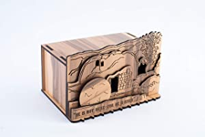 Handmade 'The Garden Tomb Ornament' Replica Religious Statue, Crafted from Quality Wooden Blocks, in The City of Truth - Jerusalem
