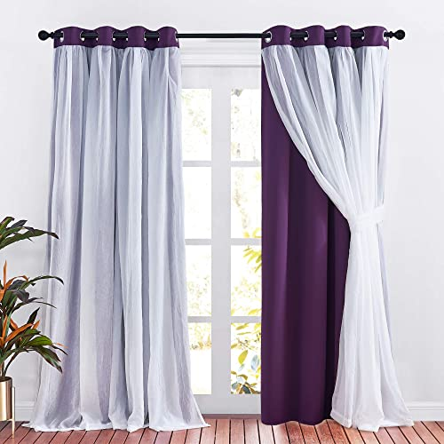 PONY DANCE Purple Curtains 95 inches Length