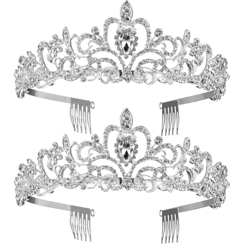 TecUnite 2 Pack Wedding Bridal Crown, Crystal Rhinestones Crown with Comb Princess Crown Headband