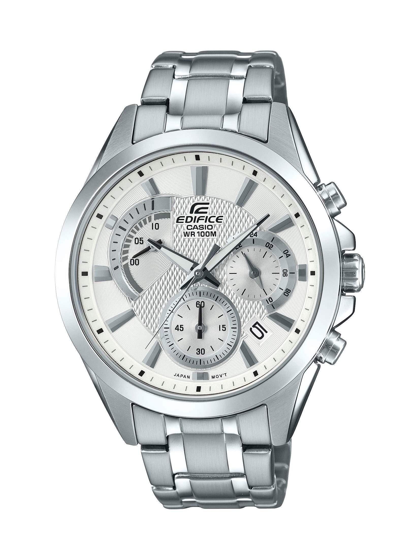 Casio Men's Edifice Silver Quartz Watch with Stainless-Steel Strap, 21.6 (Model: EFV-580D-7AVUDF)