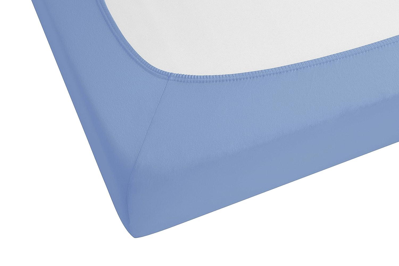 color: azul Biberna 77866//256//388 Jersey-elastic s/ábana bajera ajustable 120 x 200 cm a 130 x 220 cm aprox certificado /Öko-Tex Standard 100