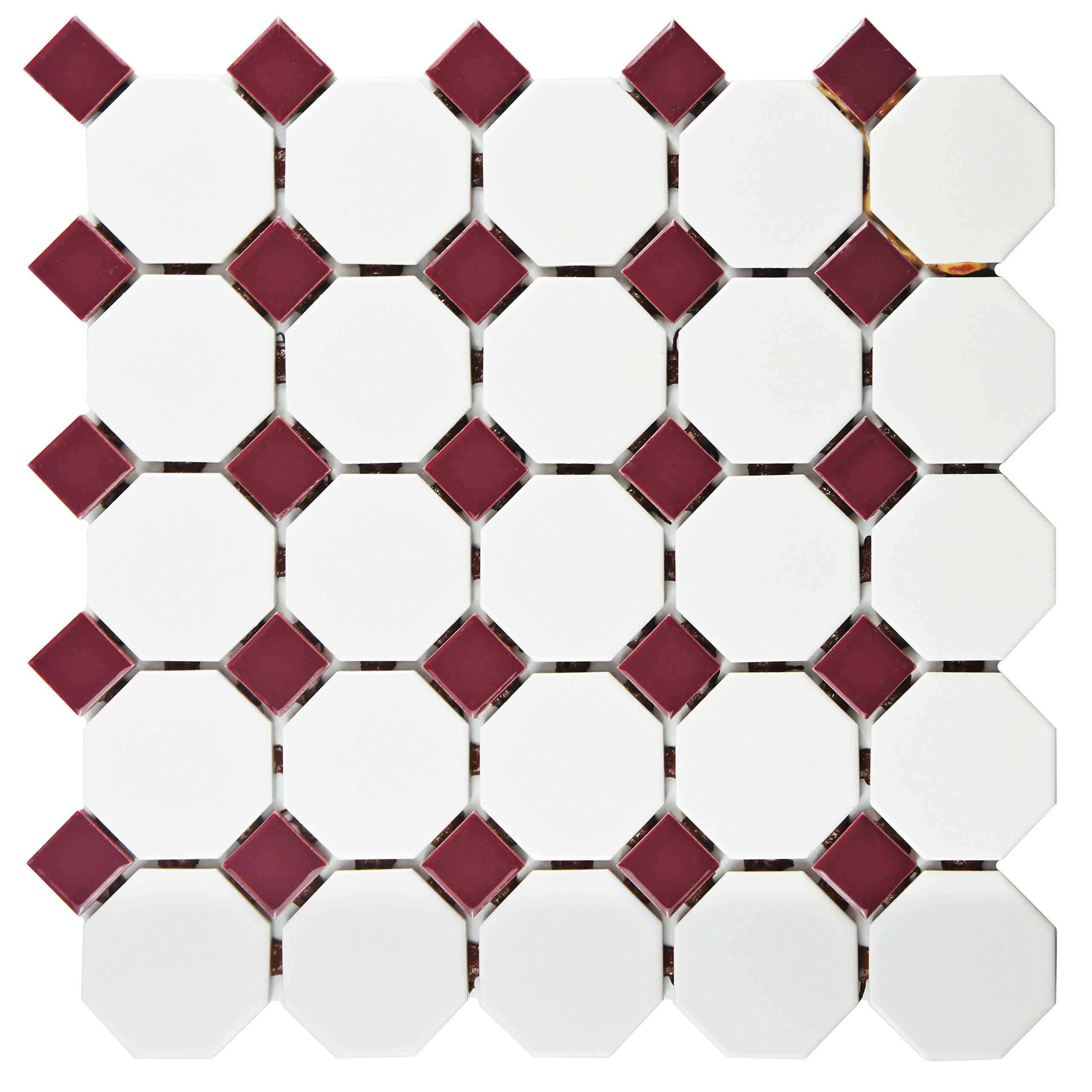 SomerTile FXLMOWBU Retro Octagon Porcelain Floor and Wall Tile, 11.5'' x 11.5'', Matte White with Burgundy Dot