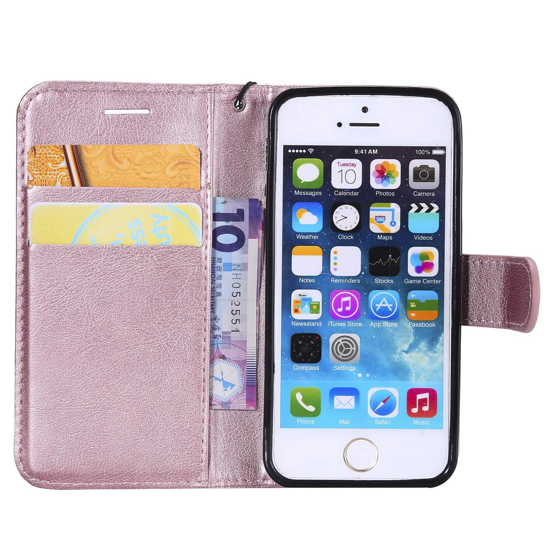 Elegant Kunstleder Handyh/ülle Klapph/ülle Stand Flip Case TPU Backcover Protective Brieftasche Magnetische,EINWEG MoreChioce kompatibel mit iPhone SE H/ülle,kompatibel mit iPhone 5S Ledertasche
