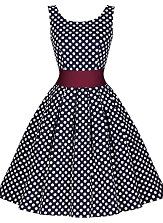 Miusol Womens Vintage Cut Out Polka Dot 1950S Bridesmaid Swing Dress Navy Blue, ...