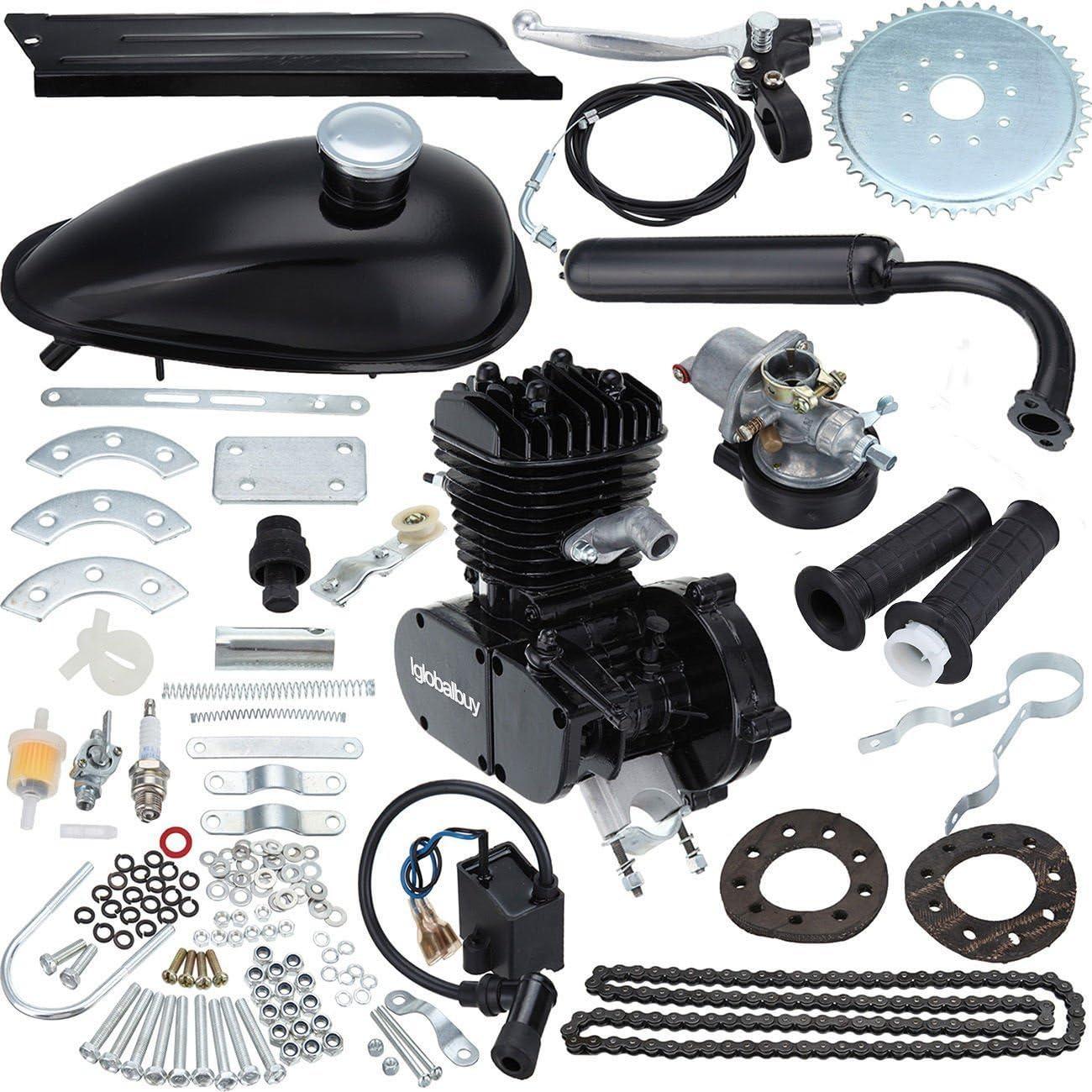 PanelTech 48CC 49CC 50CC 2-Stroke Engine Gas Kit fits 26 28 Motorized Mountain Bicycle Bike Silver