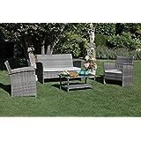 Luxurygarden - Set salotto da giardino con divano poltrone da esterno in rattan sintetico due posti