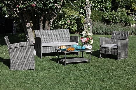 Set Da Giardino In Rattan Amazon.Luxurygarden Garden Lounge Set Pe Rattan Sofa Armchairs
