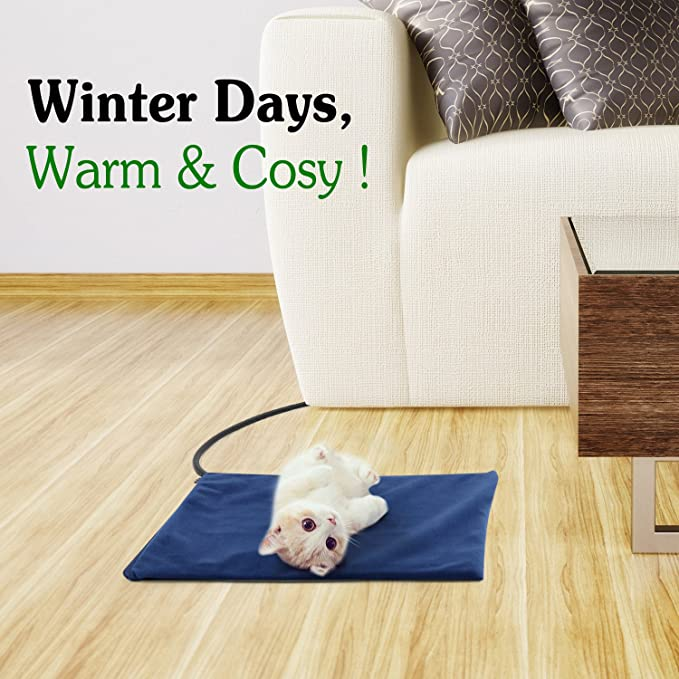 Pawaboo Cojín de calefacción eléctrica para mascotas, 39.37 x 30.48cm, Cama calentador, perro, gato,estera, impermeable, temperatura ajustable, Esterilla de ...