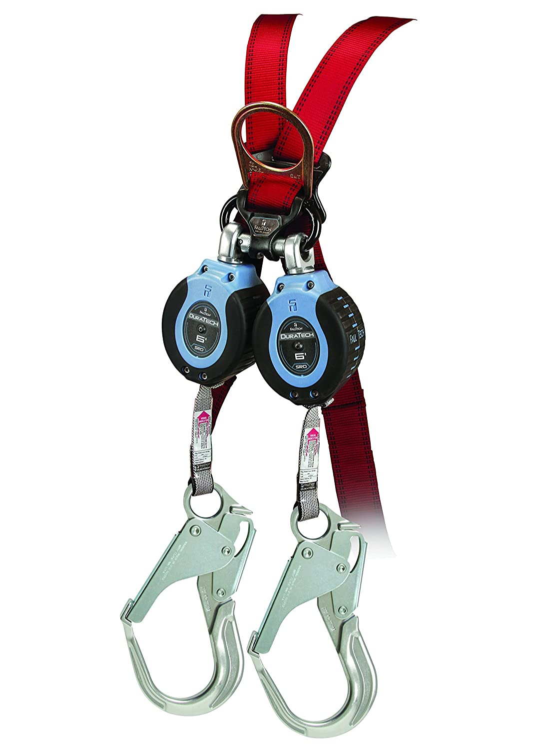 and Aluminum Rebar Hook leg-end Connectors Carabiner with Alignment Clip FallTech 82706TB5 Twin DuraTech 6 Compact Web SRL Twin 6 Blue//Black