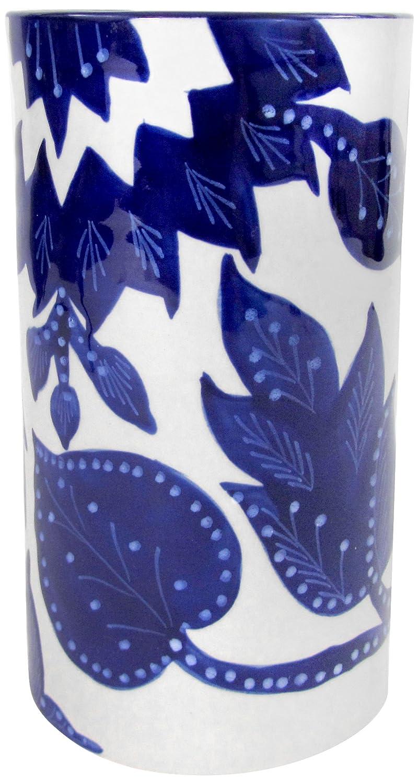 Le Souk Ceramique JA58 Stoneware Utensil/Wine Holder, Cobalt Blue/White, Medium