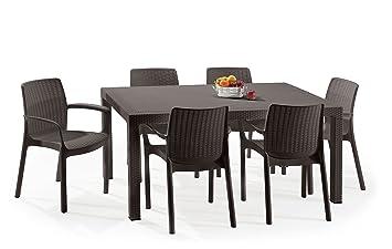 Keter - Set de mobiliario Melody (mesa + 6 sillas), color marrón: Amazon.es: Jardín