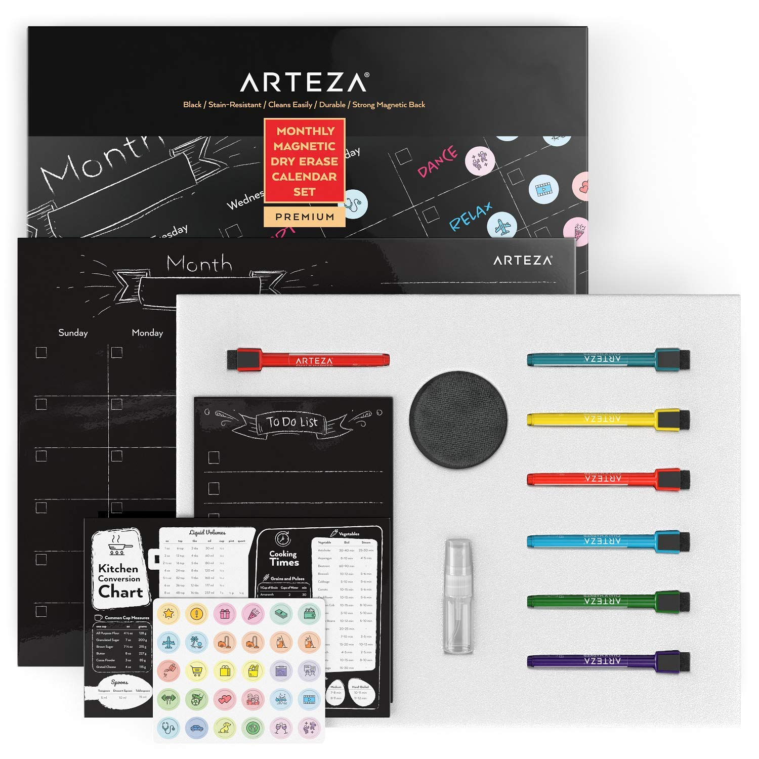 "ARTEZA Monthly Dry Erase Magnetic Calendar Set (17x13"" Black Calendar, 9x6"" to-Do List, 9x6"" Kitchen Conversion Chart, 12 Colorful fine tip Markers, 30 Mini Activity Magnets, Sponge, Spray Bottle)"