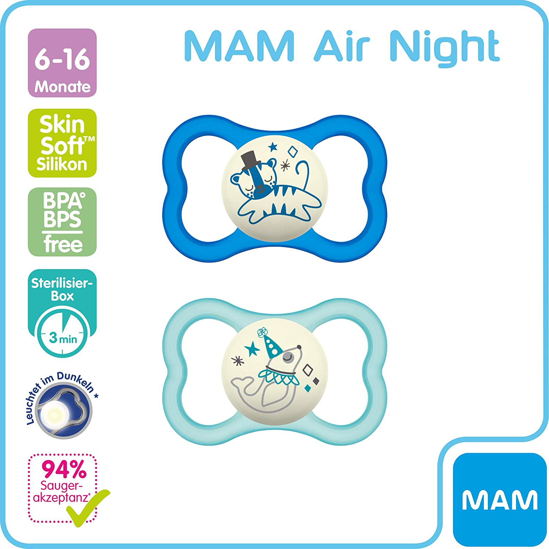 6-16 meses MAM Air Night Juego de 2 chupetes de silicona para beb/é con dise/ño de escudo extra ligero y ventilado con caja para chupete dise/ño de tigre//foca