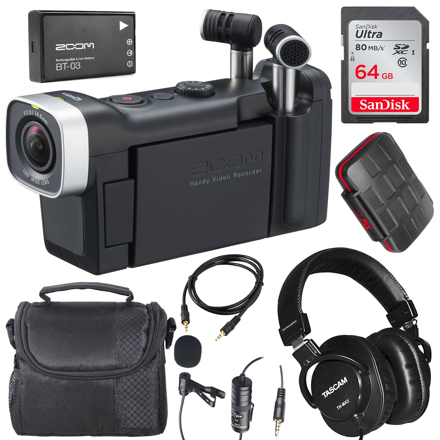 Zoom Q4n Handy Video Camera and Lavalier Microphone Deluxe Bundle w/Tascam Mixing Headphones, 64GB, Aux Cable, Case, and Xpix SD Card Case by Photo Savings (Image #1)