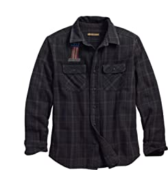 Harley-Davidson Official Mens Over-Dyed Plaid Slim Fit Shirt, Plaid/Black