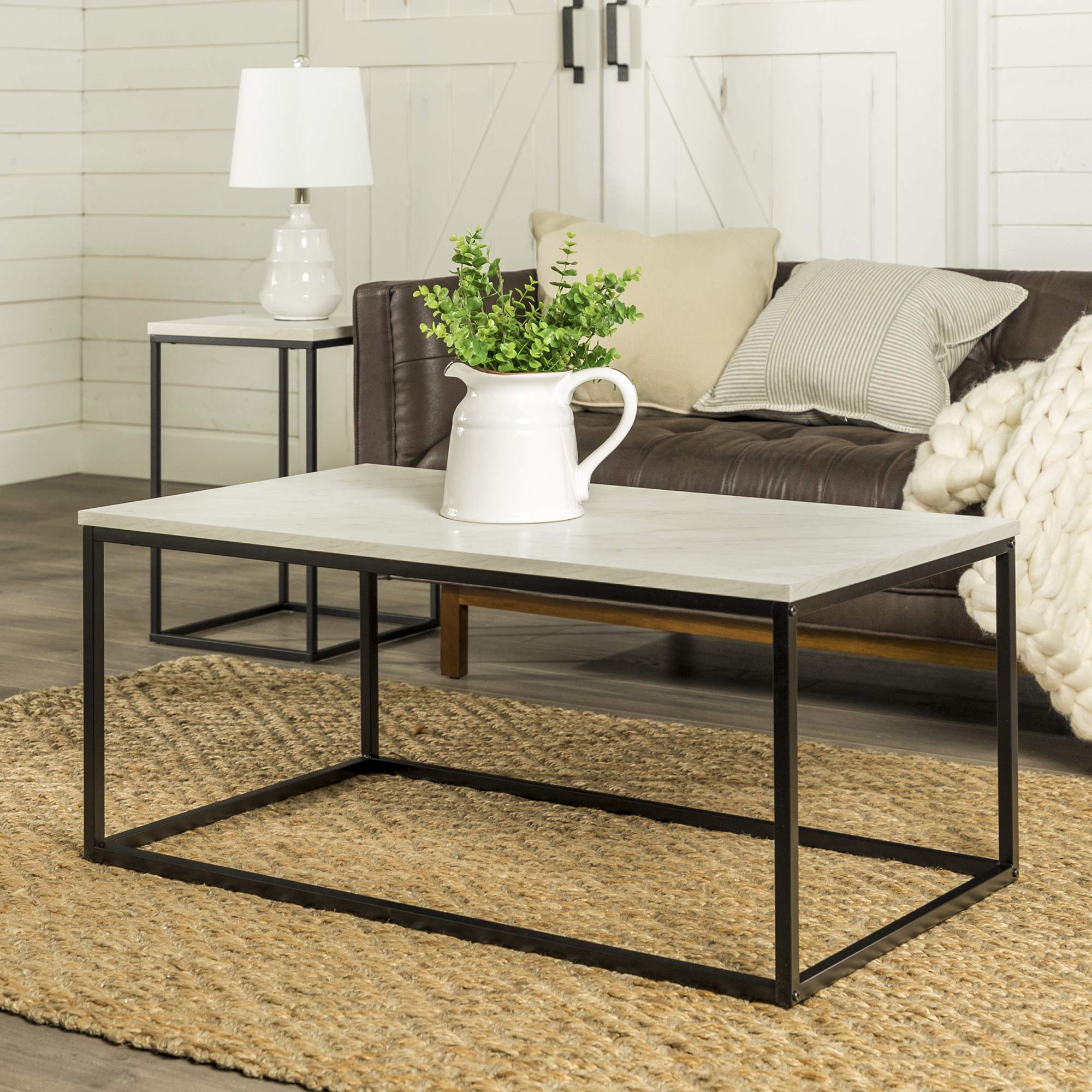 WE Furniture Modern Open Rectangle Coffee Accent Table Living Room, 42 Inch, White Marble by WE Furniture