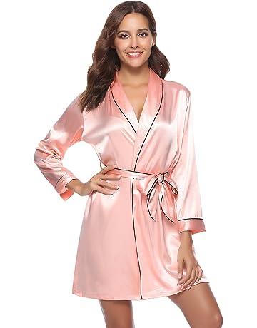 b26c6ae13de341 Aibrou Peignoir Satin Robe de Chambre Kimono Femme Sortie de Bain Nuisette  Déshabillé Vêtements de Nuit