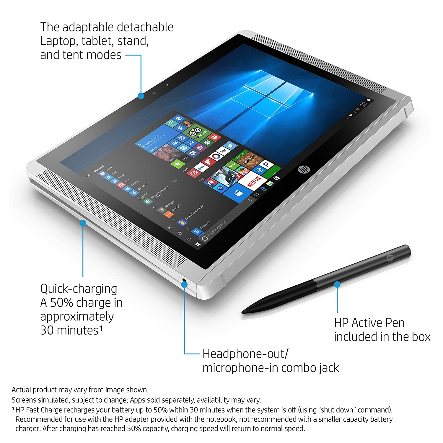 HP x2 10-inch Detachable Laptop with Stylus Pen, Intel Atom x5-Z8350, 2GB  RAM, 32GB eMMC, Windows 10 (10-p020nr, Silver)