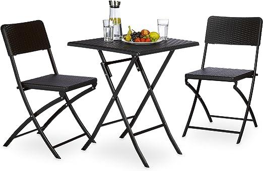 Relaxdays 10020053_46 Bastian Ensemble Meuble de JardinCamping Table Carré2 Chaises Pliables Terrasse Balcon Plastique Noir 61,5 x 61,5 x 74 cm Lot