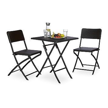 Uberlegen Relaxdays Gartenmöbel Set BASTIAN, 3 Teilig, Sitzgruppe Klappbar,  Quadratischer Klapptisch Und 2x Gartenstuhl