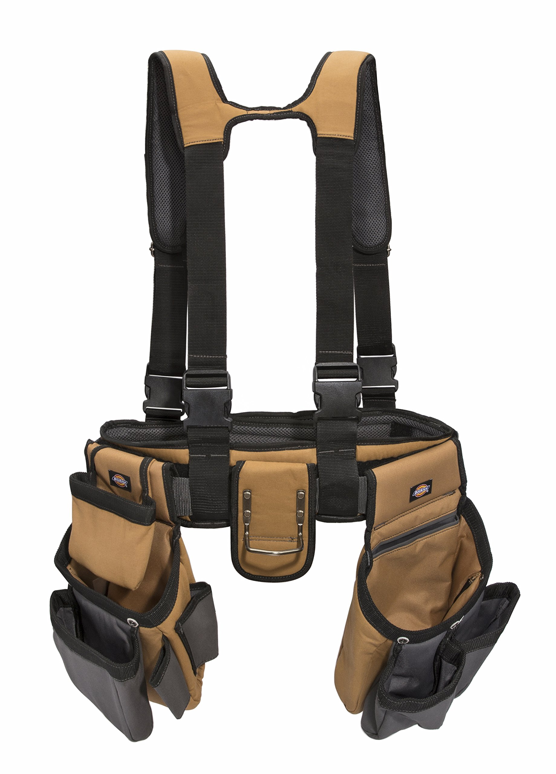 Dickies Work Gear - 4-Piece Carpenter's Rig - 57023 - Tool Belt Suspenders - Cooling Mesh - Padded Suspenders - Steel Buckle - Leather Tool Belt - Grey/Tan - 3.8 lb. by Dickies Work Gear