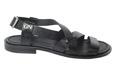 aa50377a30e Image Unavailable. Image not available for. Color  Giampieronicola 3720  Italian Mens Black Leather Sandals with Back Strap