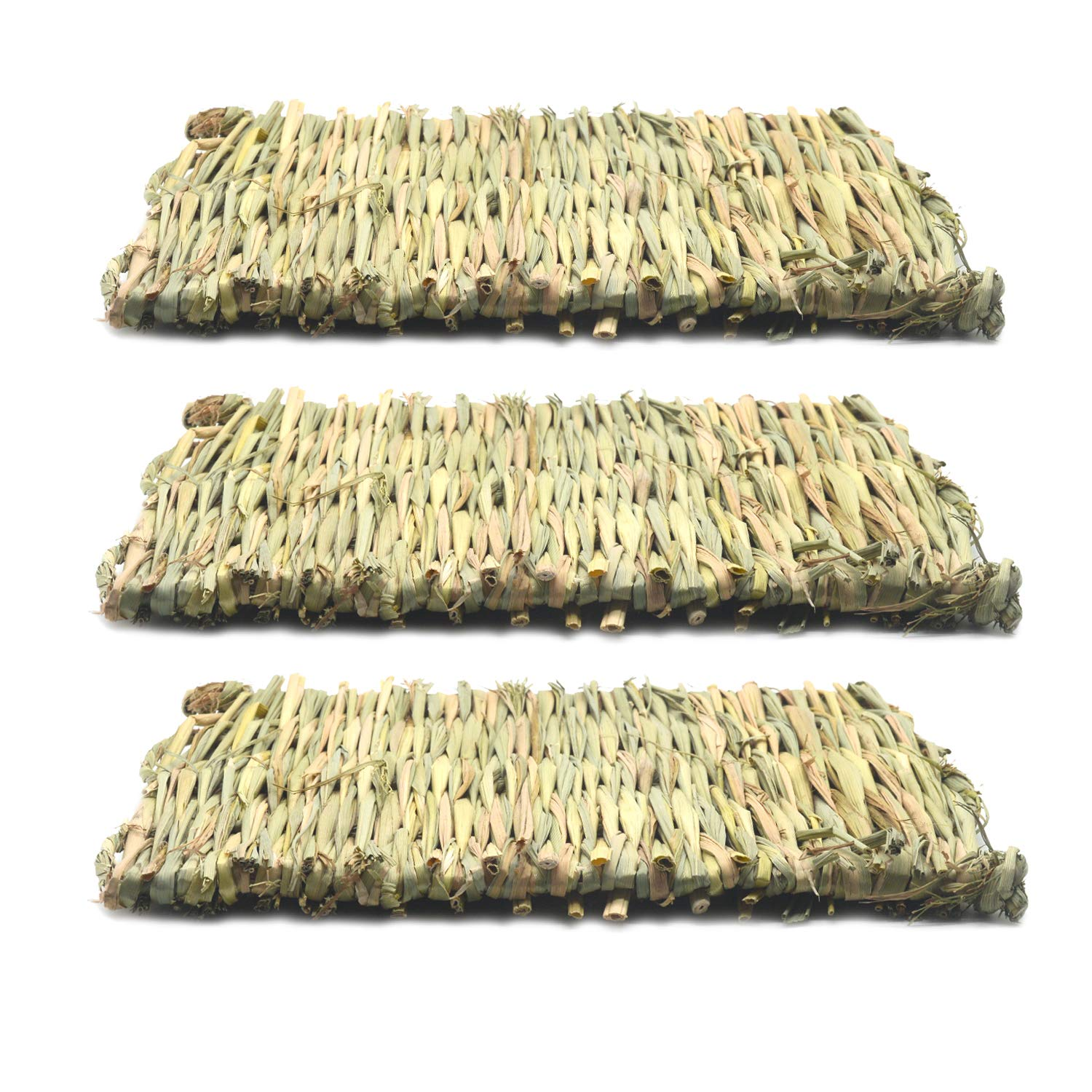 Doubletwo 3pcs Grass Mat, Woven Bed Mat for Small Animal,Chew Toy Bed Play Ball for Guinea Pig Parrot Rabbit Bunny Hamster