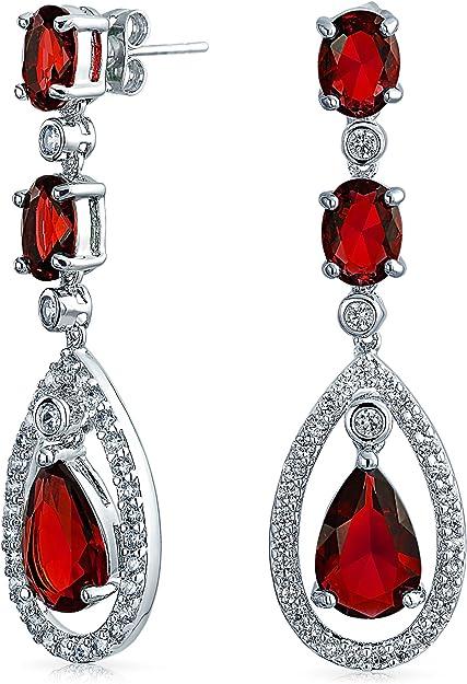 Ruby Gemstone Earrings 925 Sterling Silver Clear Oval Cut Flawless Cubic Zircon Earrings