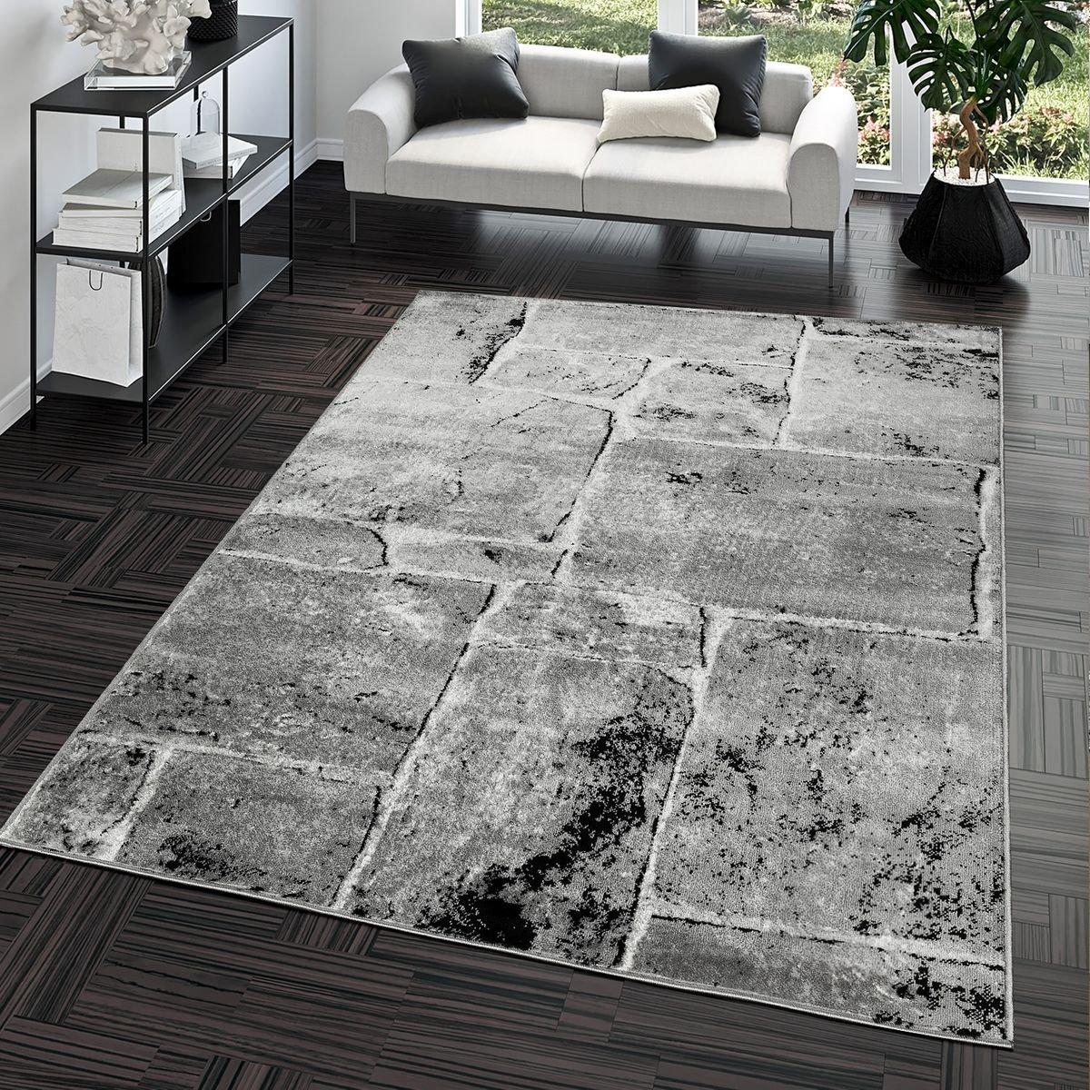 Teppich Steinboden Marmor Optik Design Modern Wohnzimmerteppich Grau Top Preis, Größe 190x280 cm