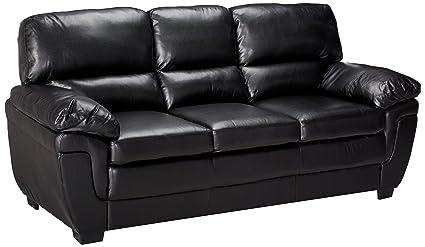 Fenmore Split Back Leather-Like Sofa Black