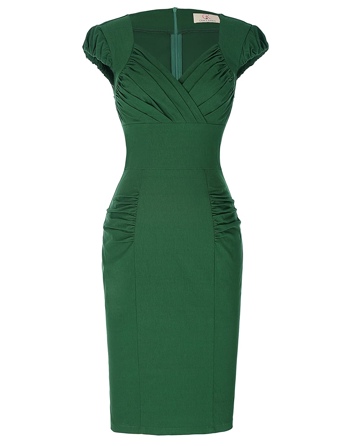 Vintage 50s Dresses: Best 1950s Dress Styles GRACE KARIN Womens 50s Vintage Pencil Dress Cap Sleeve Wiggle Dress CL7597 $28.99 AT vintagedancer.com