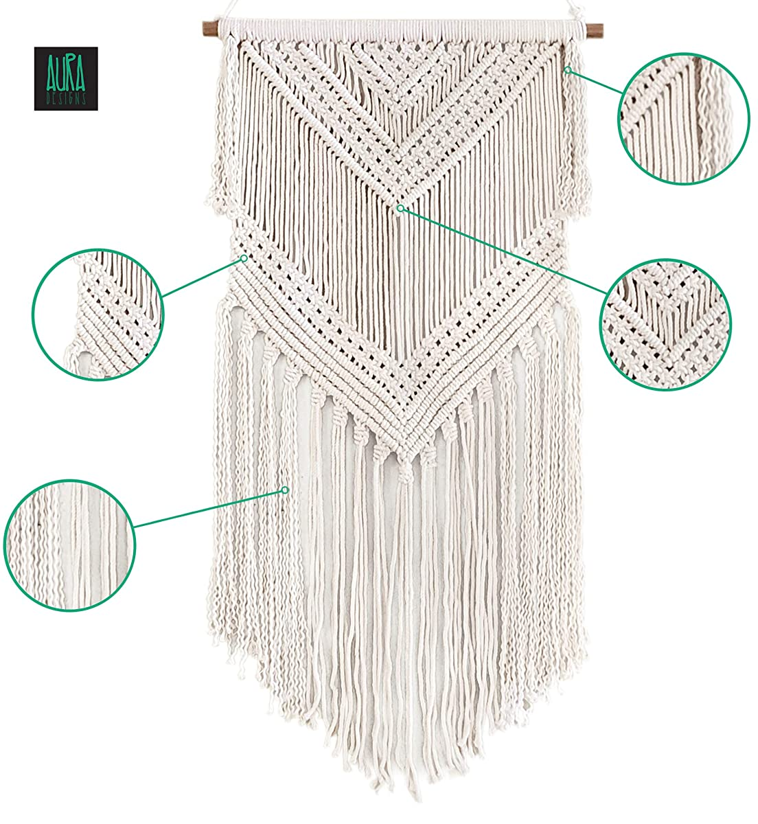 "Boho Macrame Woven Wall Hanging – 16"" x 36"" Modern Bohemian Wall Art Tapestry Decor for House, Apartment, Dorm Room, Nursery, Party Decorations, Wedding Backdrop"