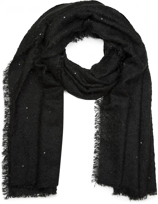 styleBREAKER sciarpa XL a trama fitta con paillettes e frange, sciarpa glitterata, da donna 01017028 colore:Beige