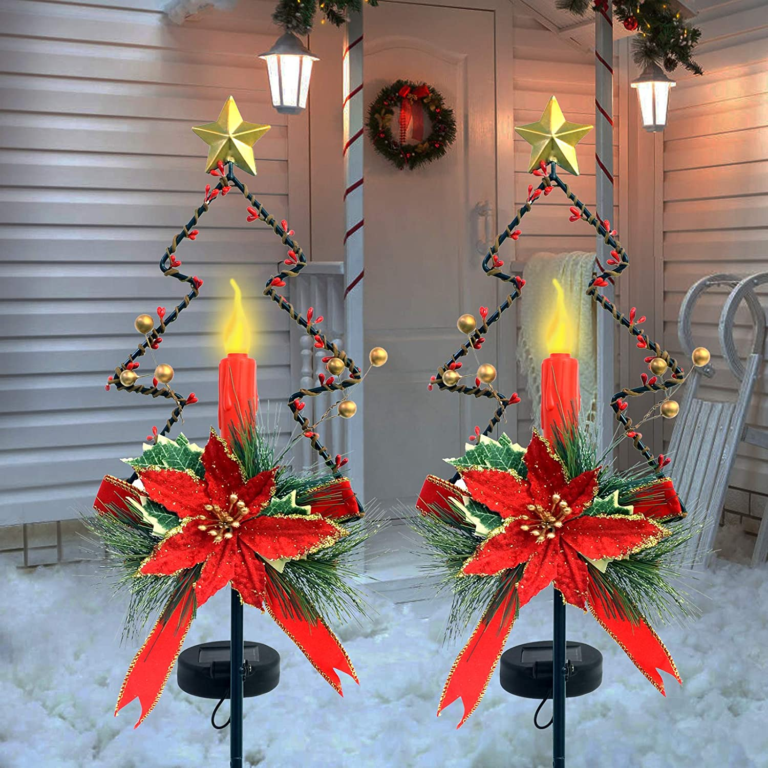 ALLADINBOX 2PCs 32 Inches Solar Christmas Decorations Outdoor LED Solar Powered Candle Xmas Pathway Lights, Metal Garden Stakes Lawn Yard Ornament