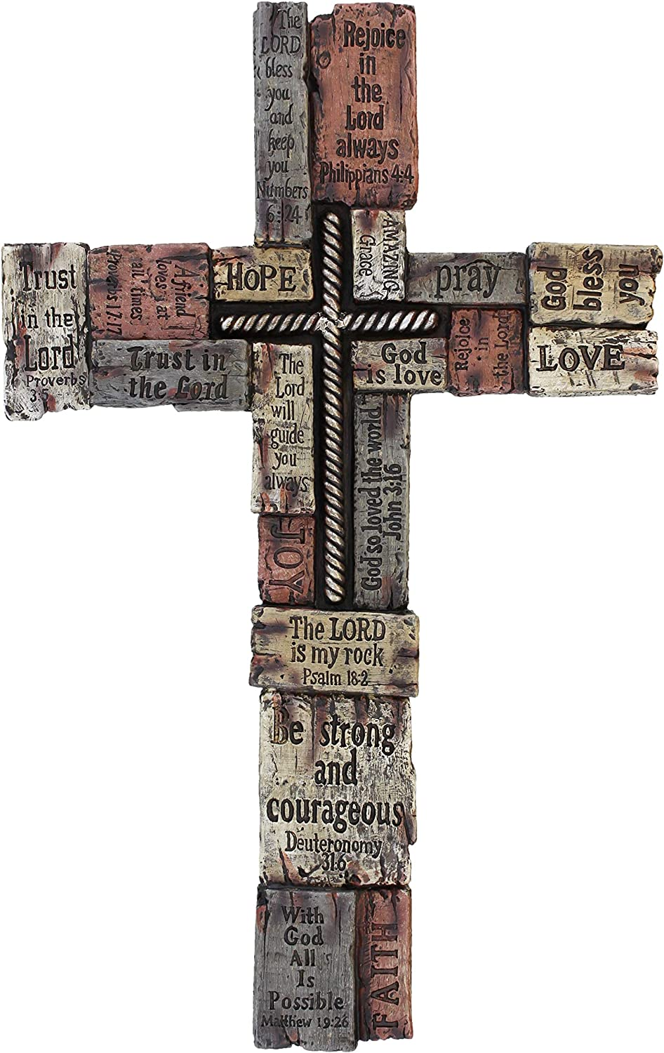 Rainbow Wholesale Inc Large Wall Cross with Inspirational Sayings/Scripture, Faux Wood Texture & Iron Cross Center