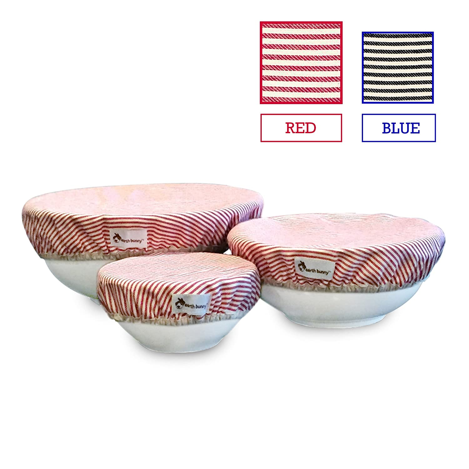 Earth Bunny Fabric Bowl Covers - Red Stripes | Set of 3 - Small, Medium, Large | 100% Cotton Cloth with Elastic Edging | Eco friendly, Washable and Reusable