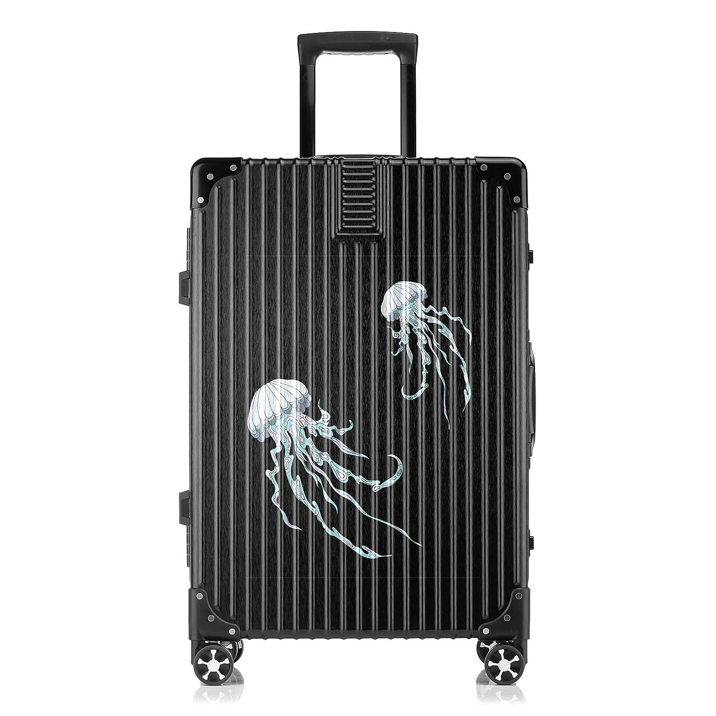 GSHCJ スーツケース かわいいクラゲ キャリーケース 20インチ おしゃれ ブラック Tsaロック搭載 プリント ハード 超軽量 軽い 機内持込 ロックファスナー 旅行 ビジネス 出張 海外 修学旅行 丈夫 便利 レディース メンズ 学生 B07RY9CMGX