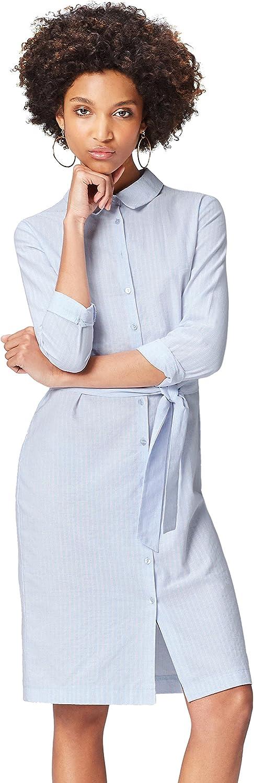 Marca Amazon - find. Vestido Camisero de Algodón Mujer