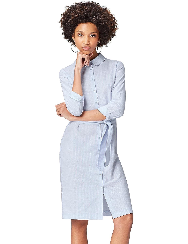 TALLA 40 (Talla del fabricante: Medium). FIND Vestido Camisero de Algodón Mujer