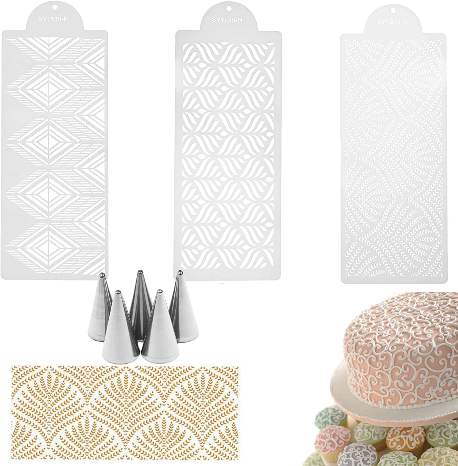 EOPER 3 Pieces Cake Decorating Stencils Molds Floral Cake Templates Food Grade Plastic Hollow Stencils Molds Spray Paint Baking Tools with 5 Pieces Cake Decorating Tips