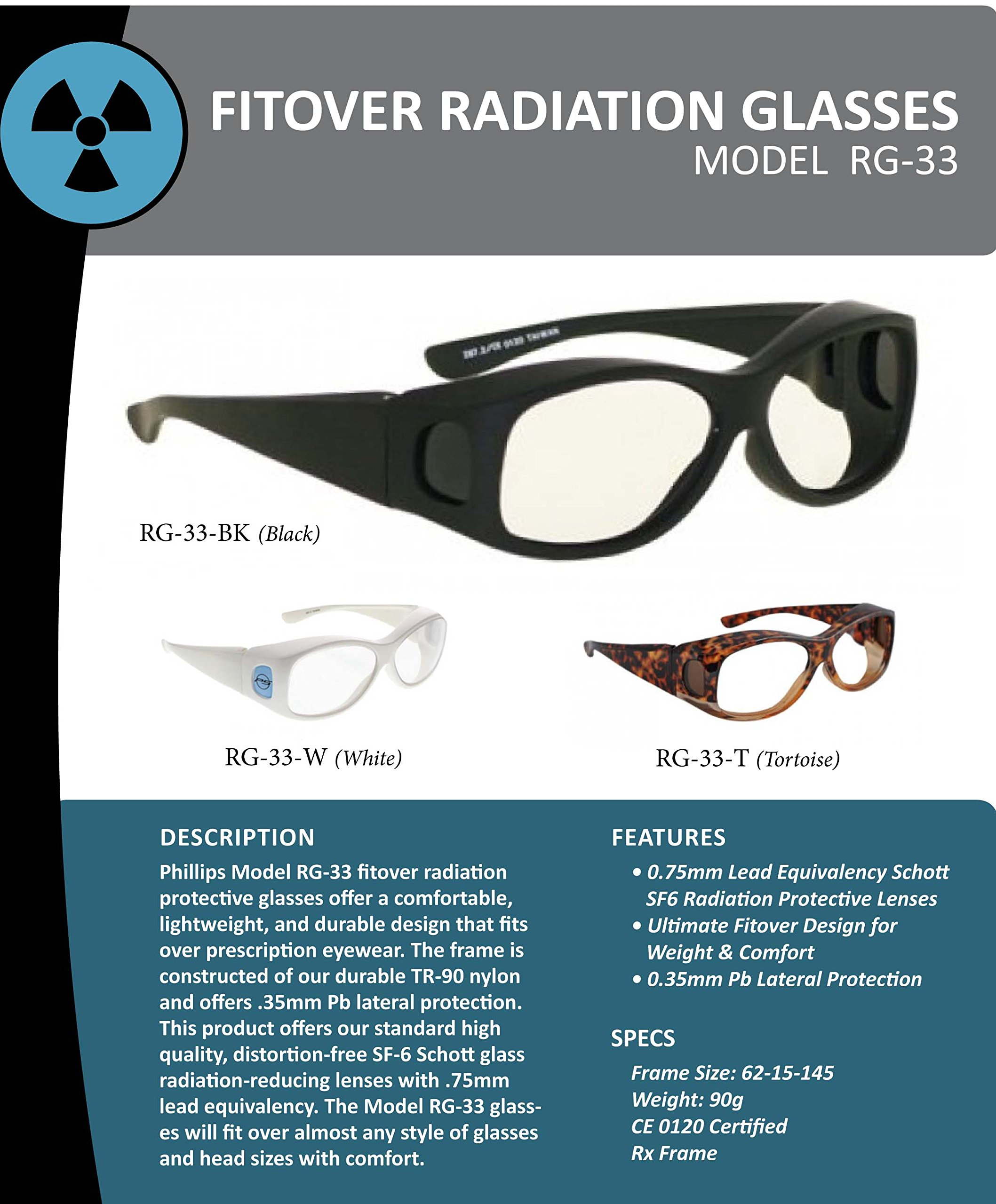 Radiation Safety Glasses - Fitovers In Large Plastic Black Safety Frame With Permanent Side Shields by Schott SF-6 HT