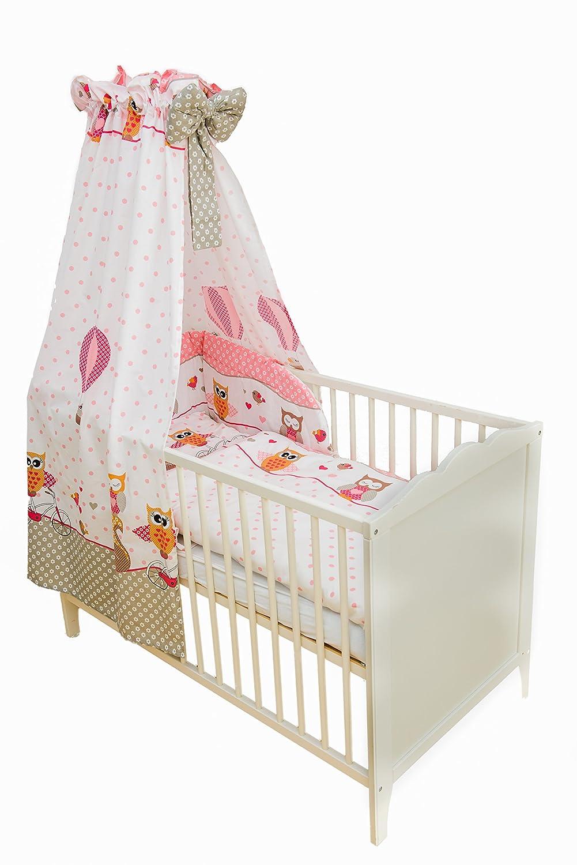 SWADDYL Ensemble de literie bébé 5 pièces: Taie d'oreiller, Housse de couette, Drap-housse, Tour de lit, Marquise pour lit bébé (Rose) - Hibou
