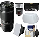 Fujifilm 50-140mm f/2.8 R LM OIS WR Zoom Lens with Flash + Soft Box + Diffuser + 3 Filters Kit for X-A2, X-E2, X-E2s, X-M1, X-T1, X-T10, X-Pro2 Camera