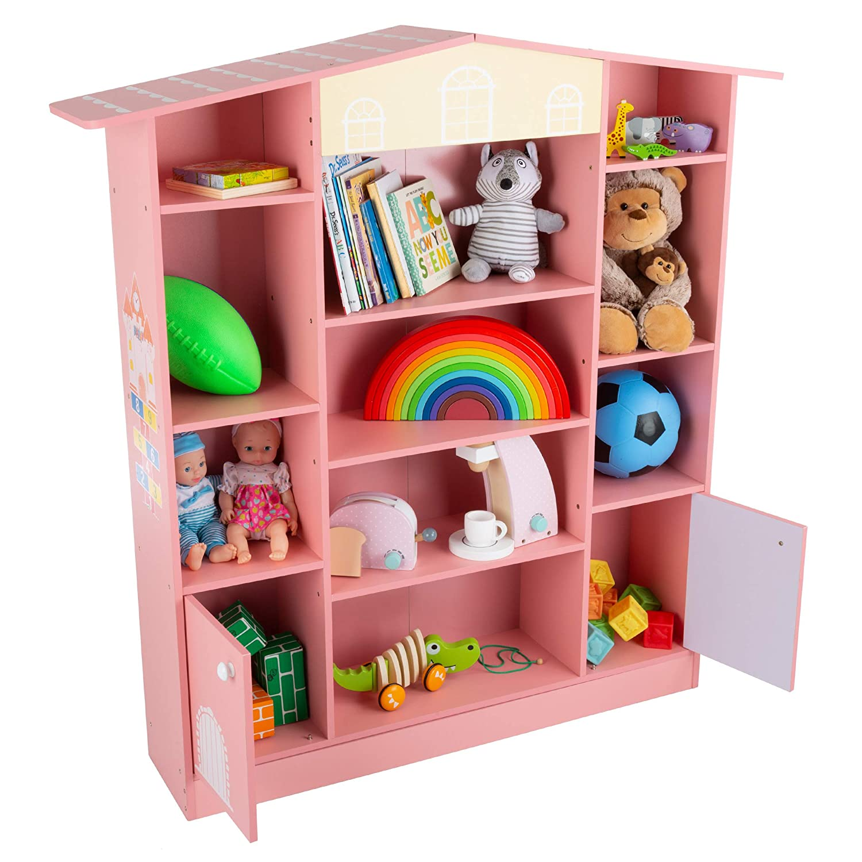 Amazon Com Hey Play Dollhouse Shaped Bookcase Cottage Design