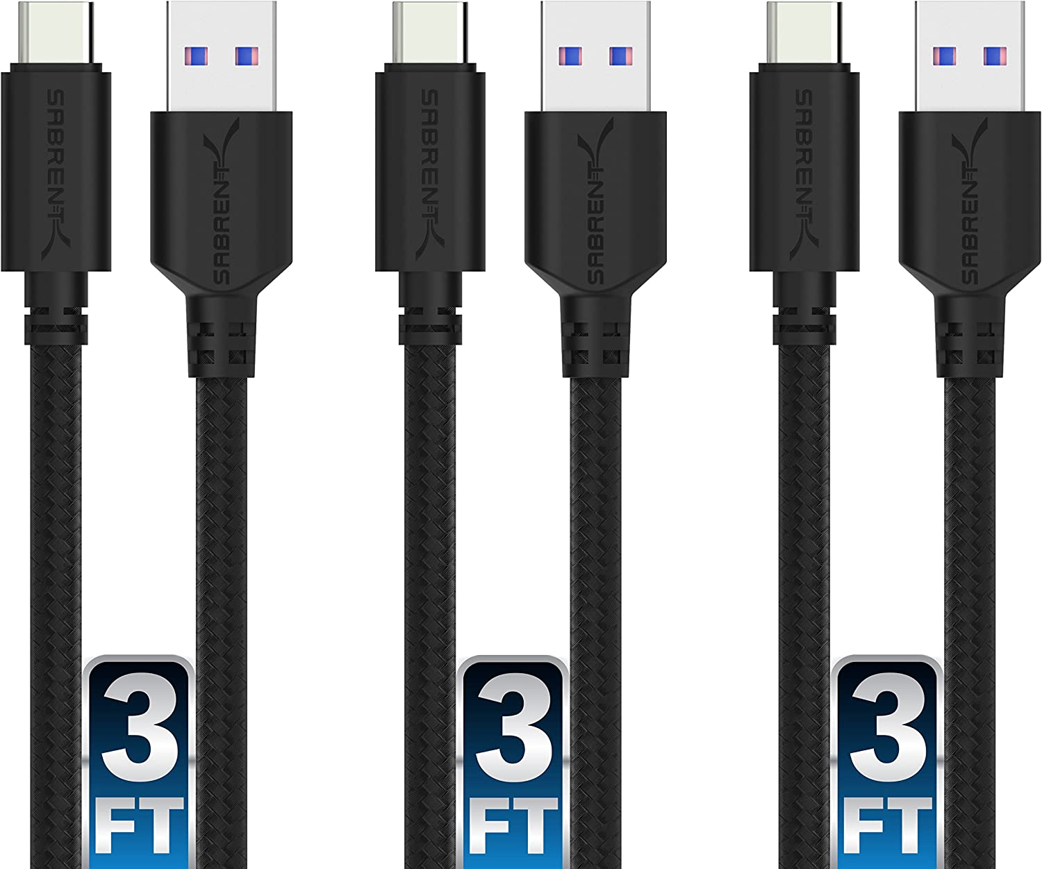 Sabrent [3-Pack] 22AWG Premium 3ft USB-C to USB A 3.0 Sync and Charge Cables [Black] (CB-C3X3)