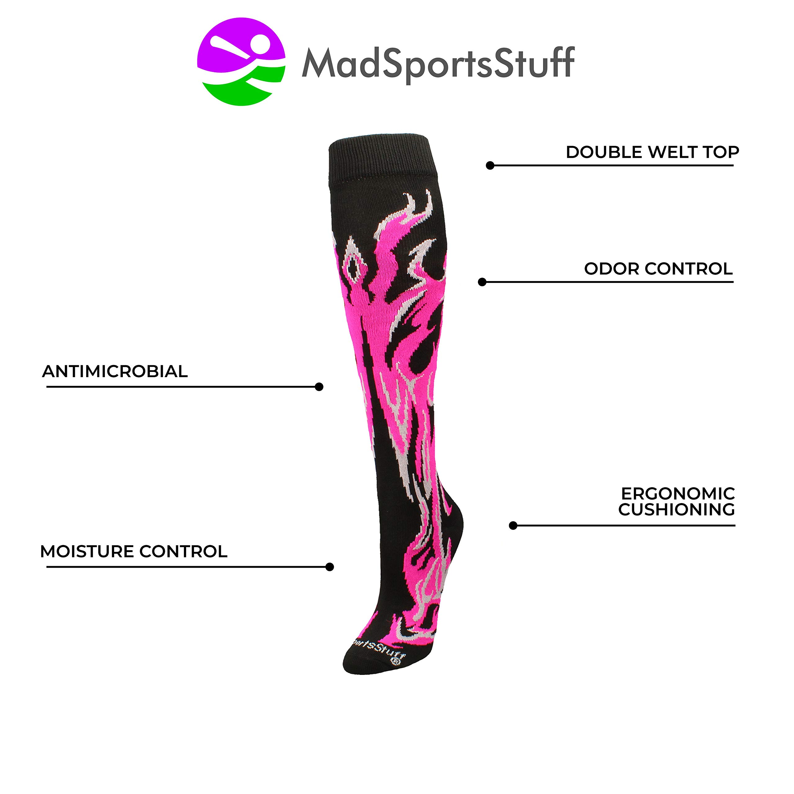 MadSportsStuff Flame Socks Athletic Over The Calf Socks (Black/Neon Pink/Pale Pink, Large) by MadSportsStuff (Image #3)
