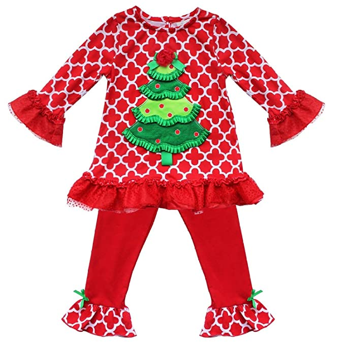 6a62d9775227 EGELEXY Little Girls Christmas Long Sleeve Santa Snowman Shirt and Pants  Outfit 0-1Years Red