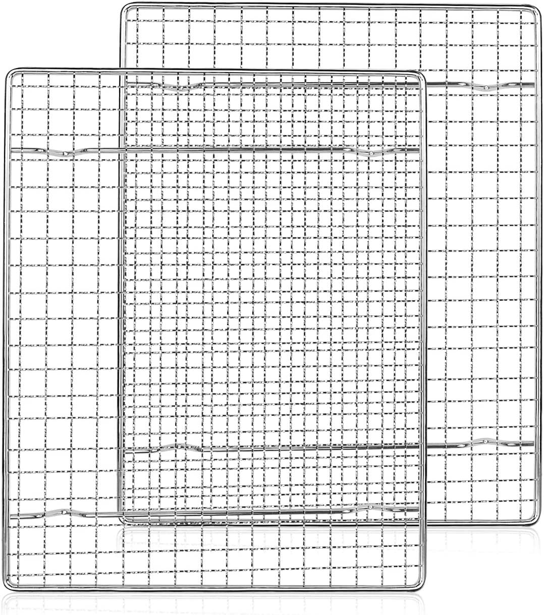 """Sondiko Cooling Rack, Baking Rack, Bacon Rack for Oven, 100% Stainless Steel Thick Wire Fits Quarter Sheet Baking Pan Oven, Grill Safe Rust-Proof for Roasting, Cooking, Baking, Heavy Duty -7.9"""" x 9.8"""""""