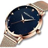 Reloj Mujer Relojes de Señoras Impermeable Lujo Luminosos Acero Inoxidable Oro Rosa de Malla Relojes de Pulsera para Mujeres Delgado Analógico Dial de Mármol Azul Genuino
